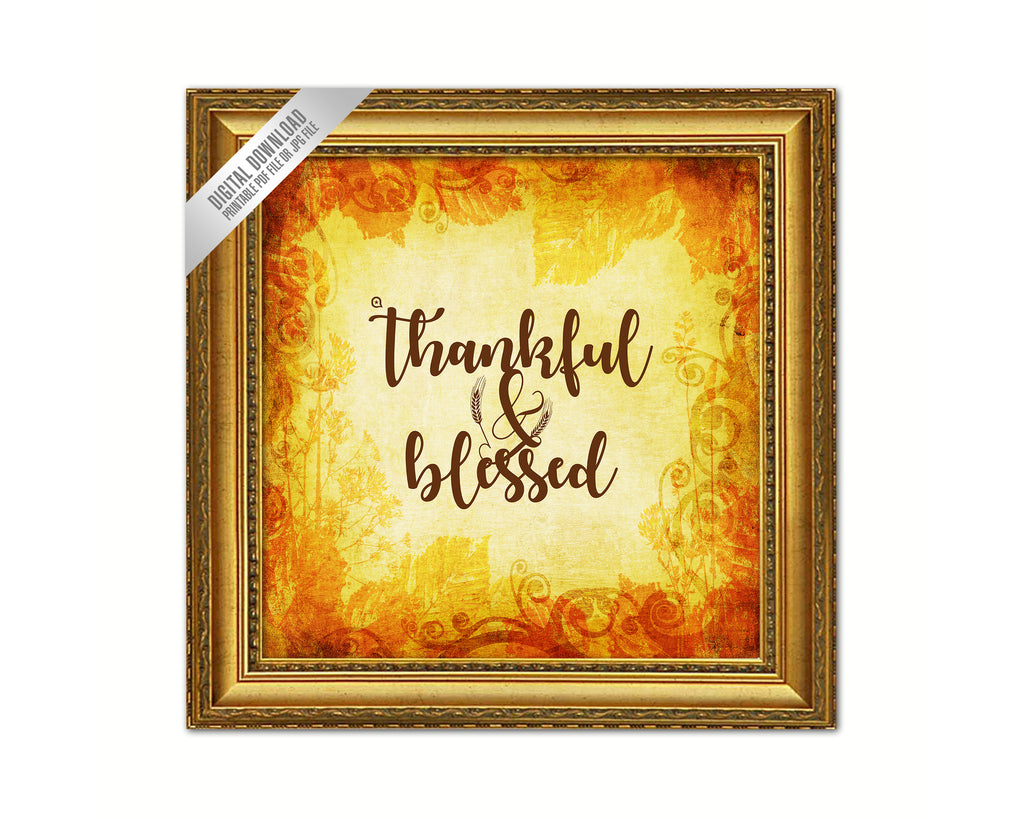 Thankful & Blessed Bible Verse Scripture Printable Quote Fall Autumn ...