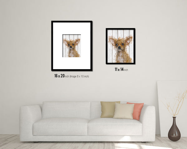 Chihuahua Dog Puppy Portrait Framed Print Pet Home Decor Custom Watercolor Wall Art Gifts