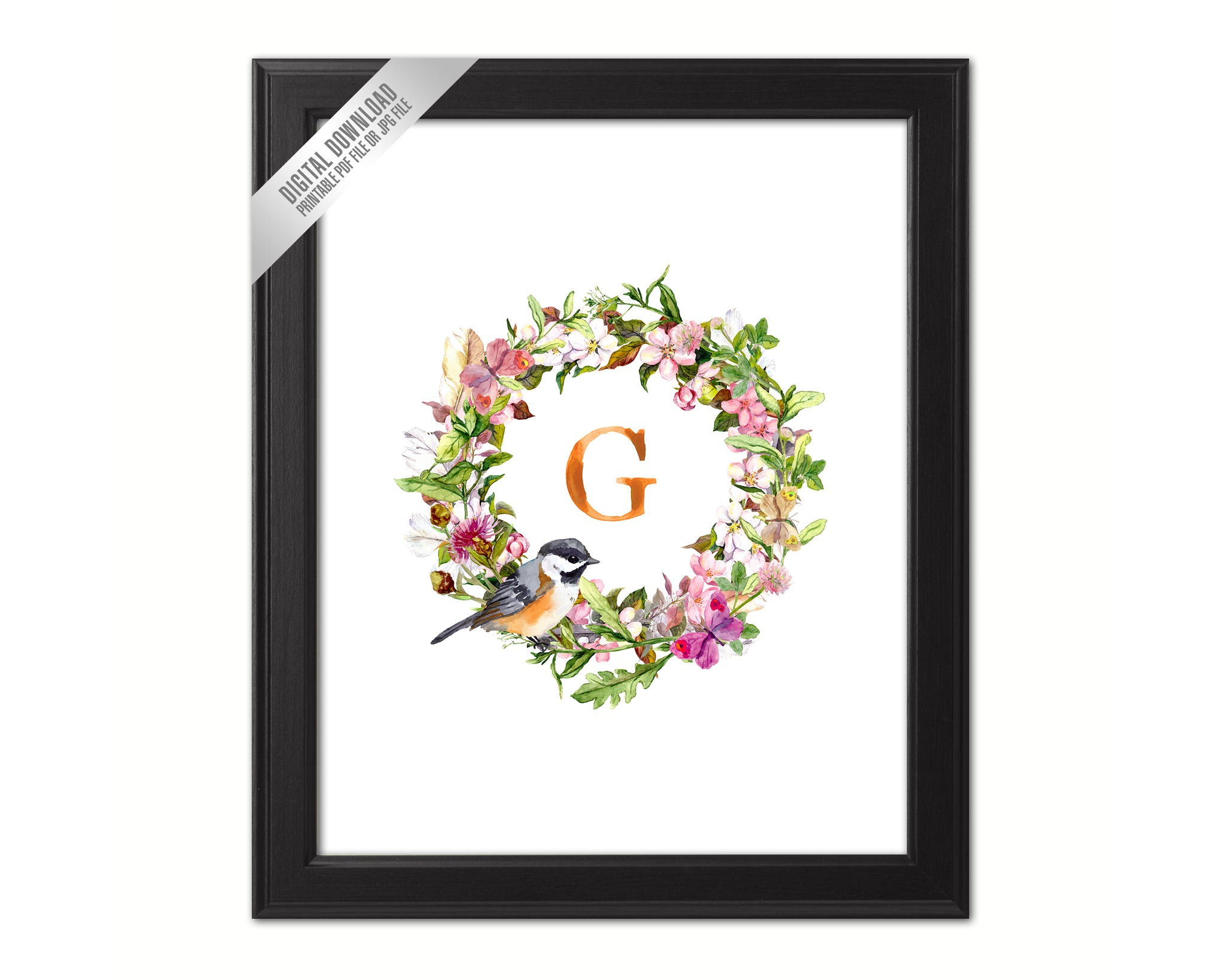 Letter G Monogram Initial Wall Art Custom Letters Printable Home Decor Watercolor Wreath Gift for Her Name Sign Digital Download
