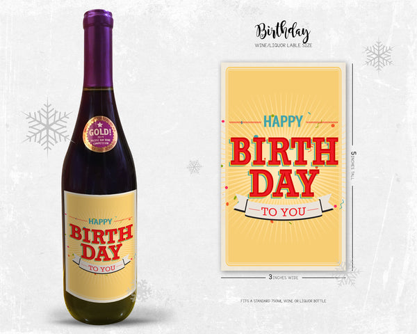 Happy Birthday To You Milestone Wine Liquor Bottle Label Gifts Holiday Present Personalized Party Gift 8001