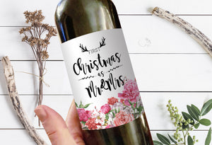 First Christmas as Mr. & Mrs. Holidays Milestone Wine Bottle Label Gifts Holiday Present Personalized Gift 8007