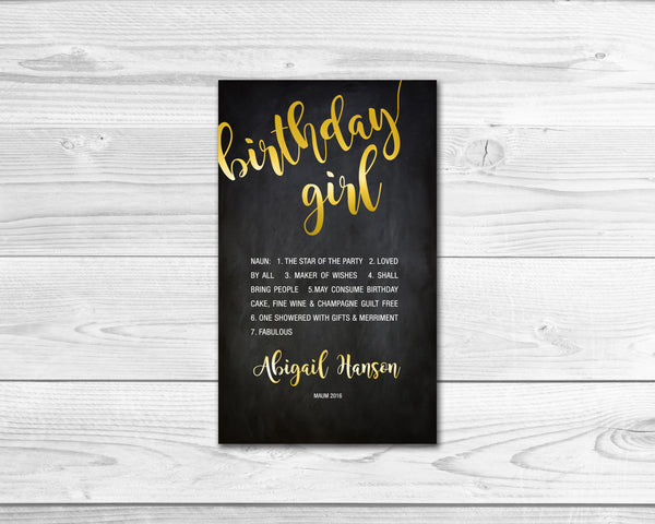 Birthday Girl Milestone Wine Liquor Bottle Label Gifts Holiday Present Personalized Party Gift 8003