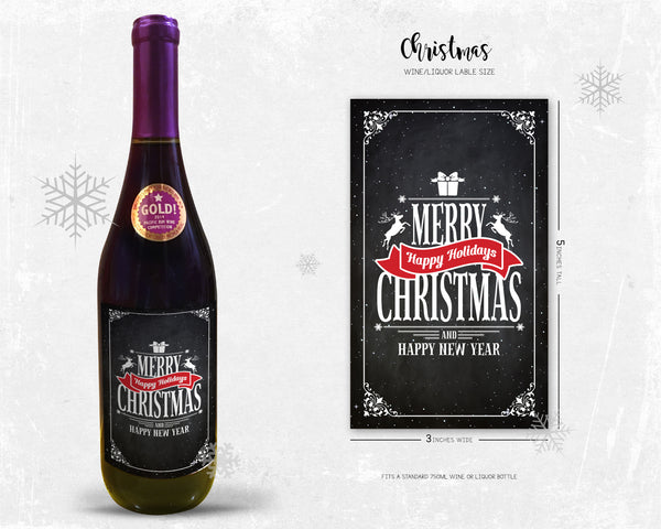 Merry Christmas and Happy New Year Milestone Wine Liquor Bottle Label Gifts Holiday Present Personalized Party Gift 8004