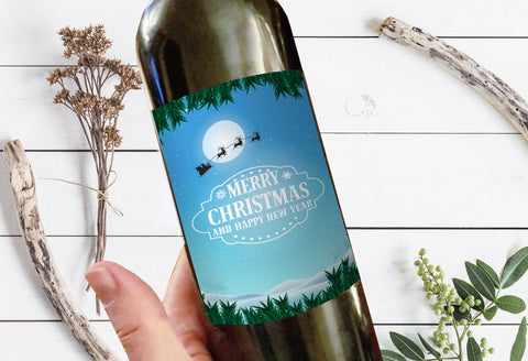Merry Christmas and Happy New Year Milestone Wine Liquor Bottle Label Gifts Holiday Present Personalized Party Gift 8005