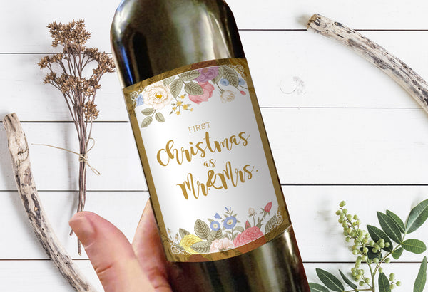 First Christmas as Mr and Mrs Milestone Wine Liquor Bottle Label Gifts Holiday Present Personalized Party Gift 8006