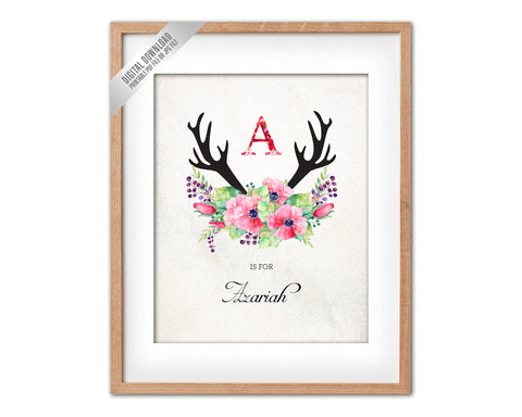 Initial Letter A Name Wall Art Printable Home Decor Baby Girl Room Watercolor Flowers Floral Gift for Her Digital Download