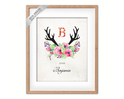 Initial Letter B Name Wall Art Printable Home Decor Baby Girl Room Watercolor Flowers Floral Gift for Her Digital Download
