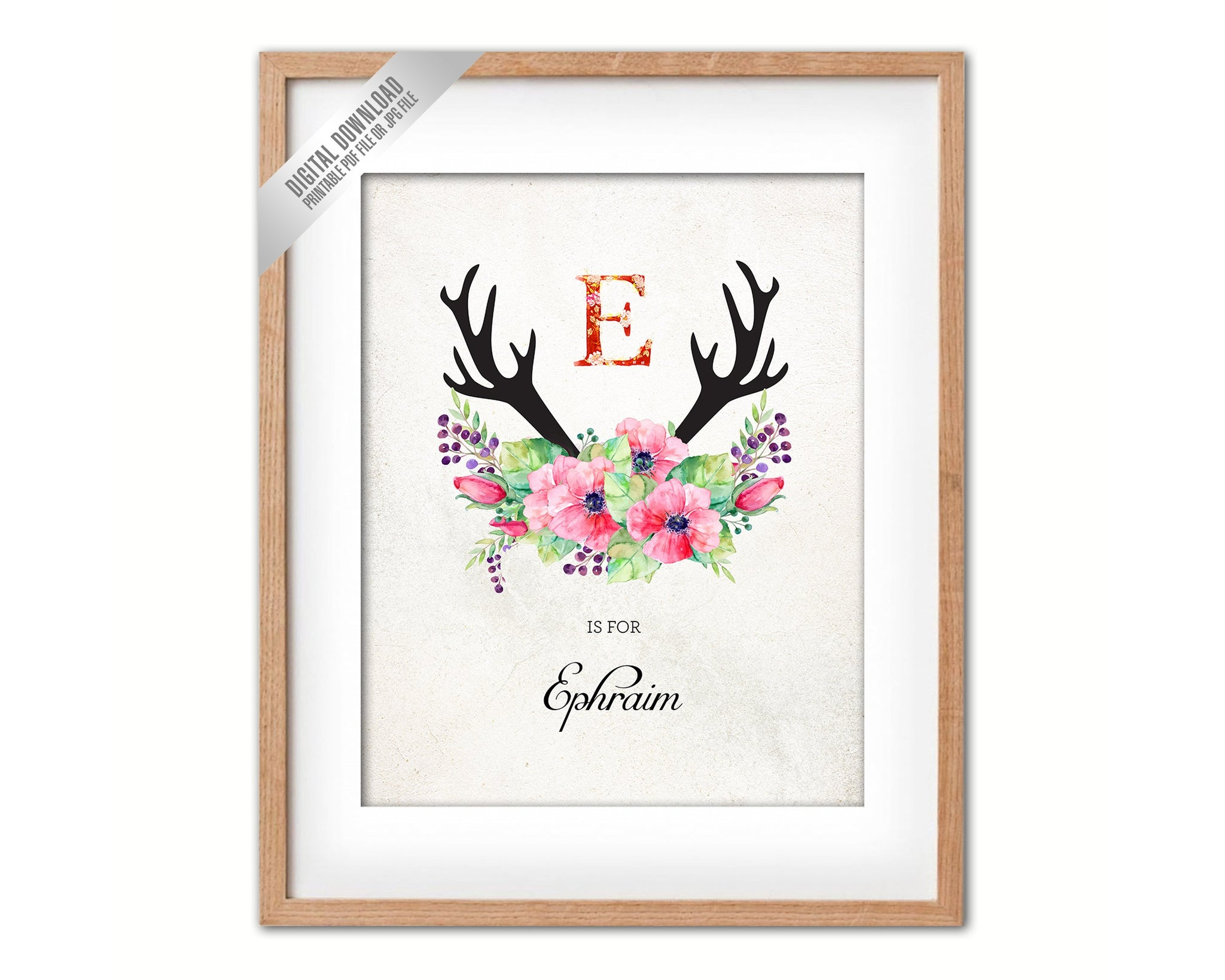Initial Letter E Name Wall Art Printable Home Decor Baby Girl Room Watercolor Flowers Floral Gift for Her Digital Download