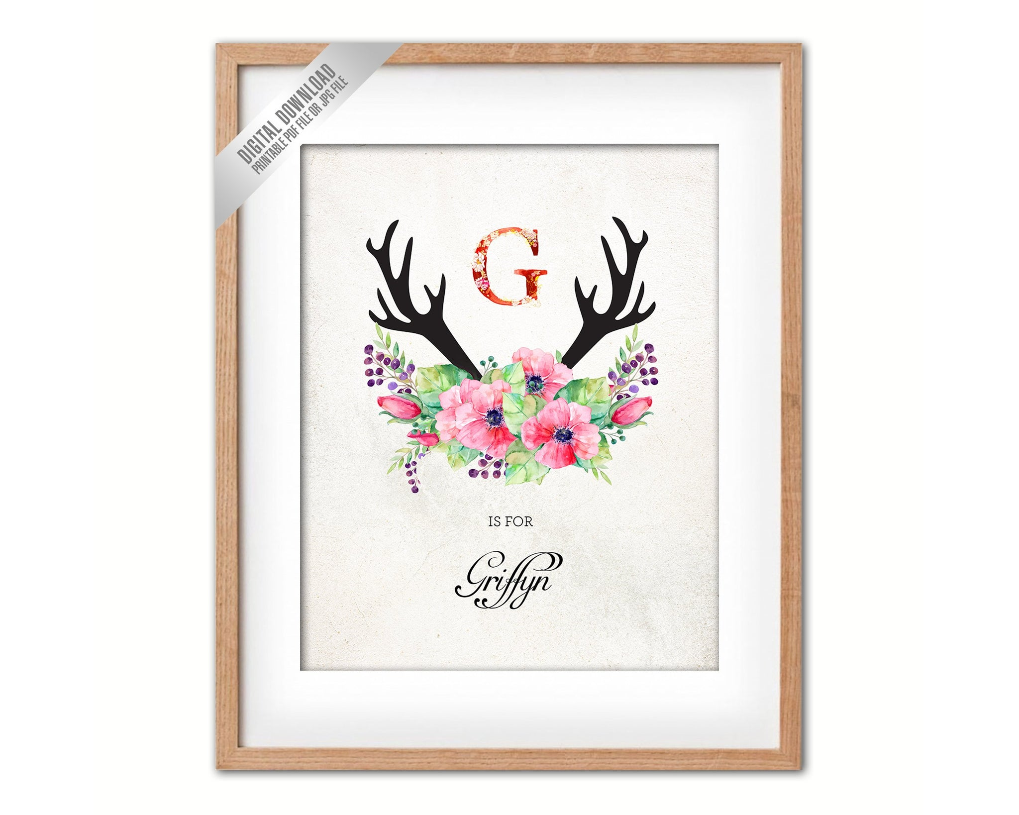 Initial Letter G Name Wall Art Printable Home Decor Baby Girl Room Watercolor Flowers Floral Gift for Her Digital Download