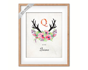 Initial Letter Q Name Wall Art Printable Home Decor Baby Girl Room Watercolor Flowers Floral Gift for Her Digital Download 5017