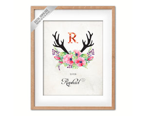 Initial Letter R Name Wall Art Printable Home Decor Baby Girl Room Watercolor Flowers Floral Gift for Her Digital Download 5018