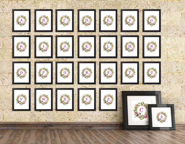 Letter D Monogram Initial Wall Art Custom Letters Printable Home Decor Watercolor Wreath Gift for Her Name Sign Digital Download
