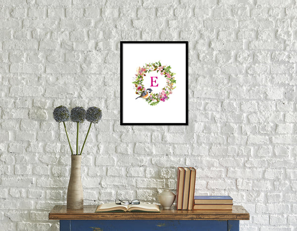 Letter E Monogram Initial Wall Art Custom Letters Printable Home Decor Watercolor Wreath Gift for Her Name Sign Digital Download