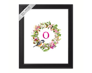 Letter O Monogram Initial Wall Art Custom Letters Printable Home Decor Watercolor Wreath Gift for Her Name Sign Digital Download