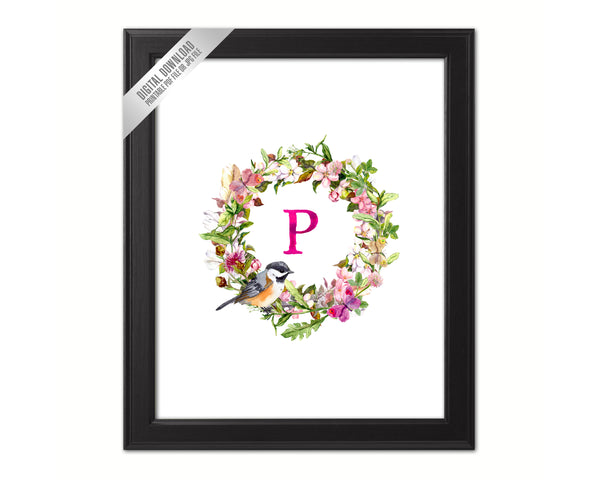 Letter P Monogram Initial Wall Art Custom Letters Printable Home Decor Watercolor Wreath Gift for Her Name Sign Digital Download