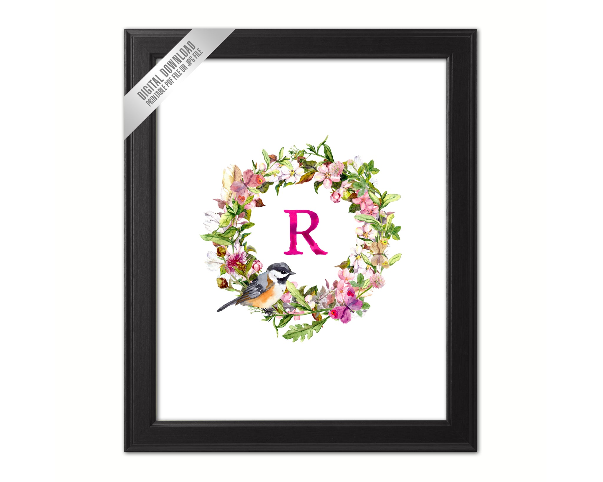 Letter R Monogram Initial Wall Art Custom Letters Printable Home Decor Watercolor Wreath Gift for Her Name Sign Digital Download