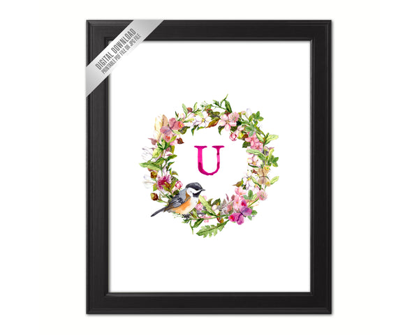 Letter U Monogram Initial Wall Art Custom Letters Printable Home Decor Watercolor Wreath Gift for Her Name Sign Digital Download
