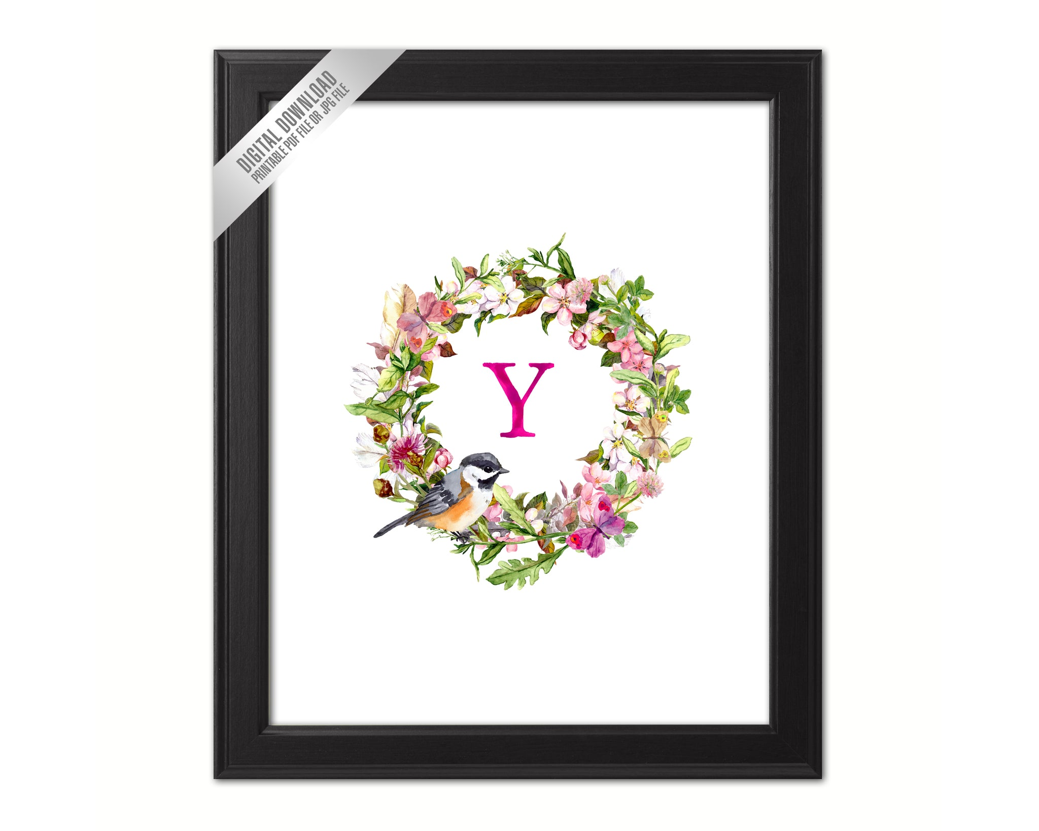 Letter Y Monogram Initial Wall Art Custom Letters Printable Home Decor Watercolor Wreath Gift for Her Name Sign Digital Download