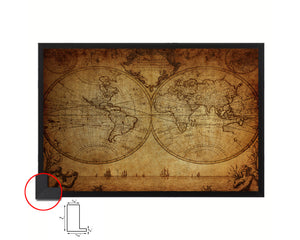 World Johann Matthias Hase 1733 Vintage Map Framed Print Art Wall Decor Gifts