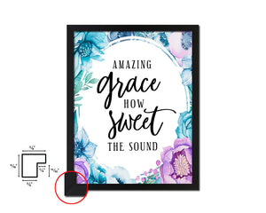 Amazing grace how sweet the sound Vintage Quote Black Framed Artwork Print Wall Decor Art Gifts
