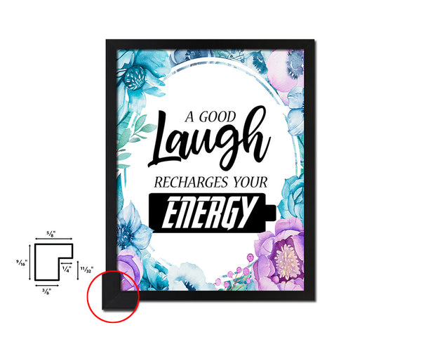 A good laugh recharges your energy Vintage Quote Black Framed Artwork Print Wall Decor Art Gifts