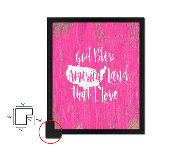 God bless America land that I love Quote Framed Print Home Decor Wall Art Gifts