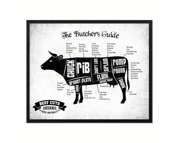 Beef Meat Cuts Cow Butcher Chart Kitchen White Printable Sign Wall Art Home Decor Digital Download 5203
