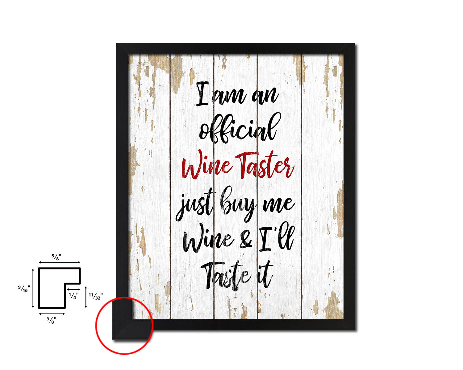 I am an official wine taster Quote Wood Framed Print Wall Decor Art Gifts