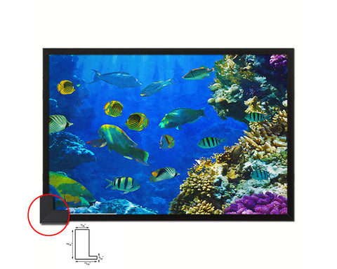 Tropical Fish on a coral reef Landscape Painting Print Art Frame Home Wall Decor Gifts