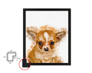 Chihuahua 3 months Dog Puppy Portrait Framed Print Pet Home Decor Custom Watercolor Wall Art Gifts