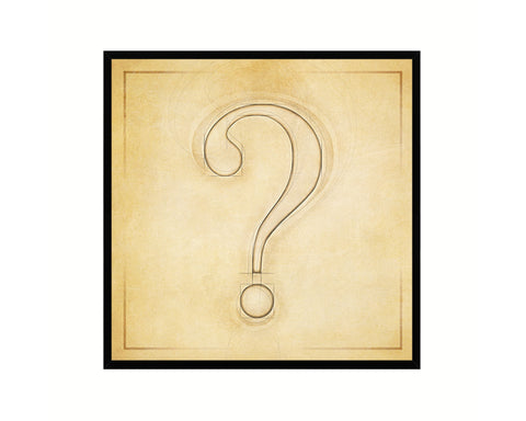Question Mark ? Punctuation Vintage Symbol Art Prints Black Framed Home Classroom Wall Decor English Teacher Gifts