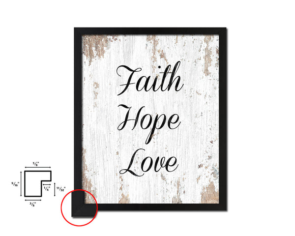 Faith Hope Love Quote Wood Framed Print Home Decor Wall Art Gifts