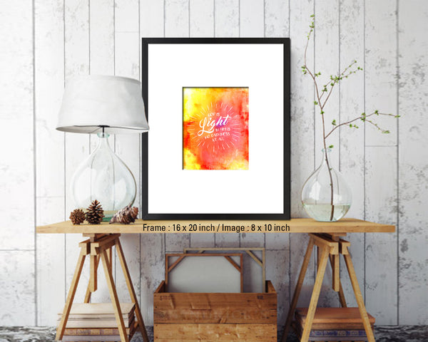 God is Ligfht in him is no darkness at all Quote Wood Framed Print Home Decor Wall Art Gifts