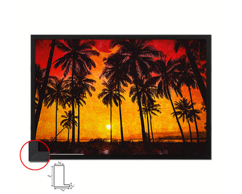 Coconut Palm Trees Beach Sunset Artwork Painting Print Art Frame Home Wall Decor Gifts