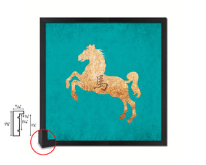 Horse Chinese Zodiac Character Wood Framed Print Wall Art Decor Gifts, Aqua