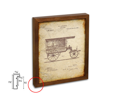 Ambulance Doctor Vintage Patent Artwork Walnut Frame Print Wall Art Decor Gifts