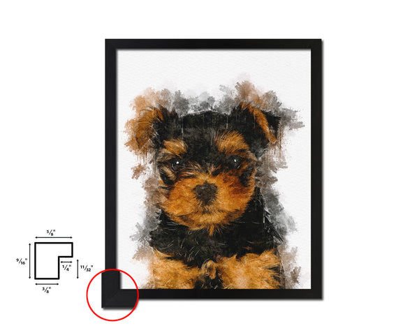 Yorkshire Terrier Dog Puppy Portrait Framed Print Pet Home Decor Custom Watercolor Wall Art Gifts