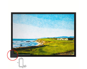 Halfmoon Bay, California Artwork Painting Print Art Wood Framed Wall Decor Gifts