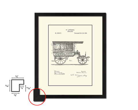 Ambulance Doctor Vintage Patent Artwork Black Frame Print Wall Art Decor Gifts