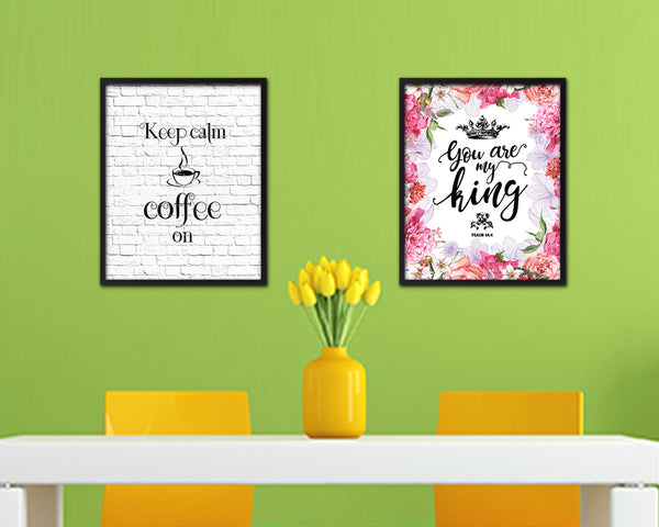 Keep calm coffee is on Quote Framed Artwork Print Wall Decor Art Gifts