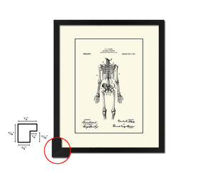 Anatomical Skeleton Doctor Vintage Patent Artwork Black Frame Print Wall Art Decor Gifts