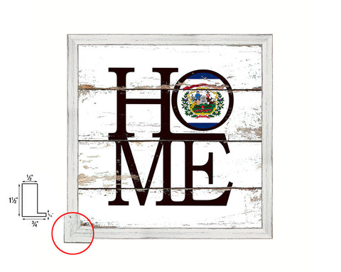 West Virginia State Flag Shabby Chic Home Decor White Wash Wood Frame Wall Art Prints Gift