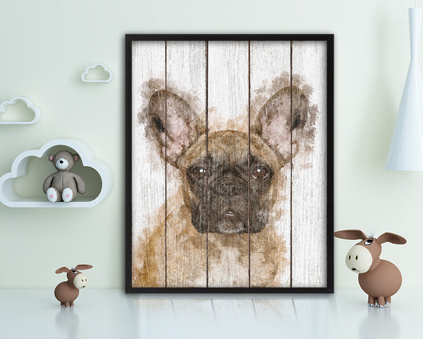 French Bulldog Dog Puppy Portrait Framed Print Pet Home Decor Custom Watercolor Wall Art Gifts