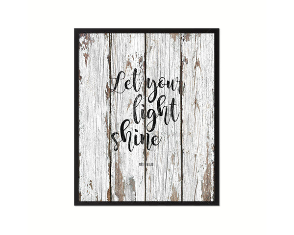 Let your light shine, Matthew 5:16 Quote Framed Print Home Decor Wall Art Gifts