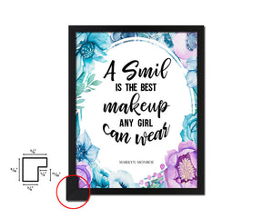 A smile is the best makeup Vintage Quote Black Framed Artwork Print Wall Decor Art Gifts