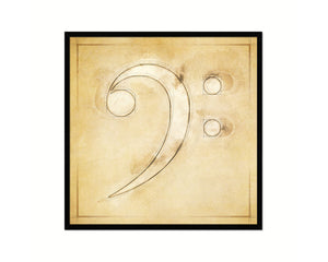 Bass Clef Vintage Musical Symbol Framed Print Orchestra Teacher Gifts Home Wall Decor