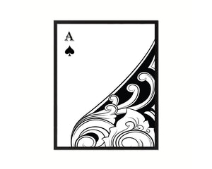 Ace of Spades Cards Fine Art Paper Prints Wood Framed Wall Art Decor Gifts