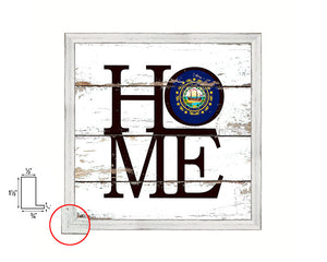 New Hampshire State Flag Shabby Chic Home Decor White Wash Wood Frame Wall Art Prints Gift