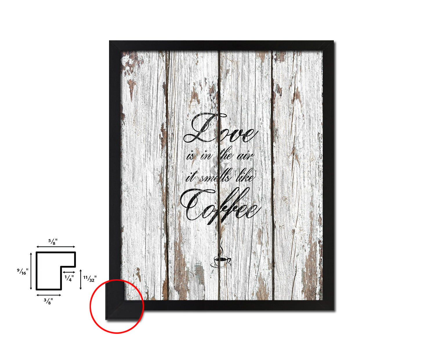 Love is in the air and it smells like coffee Quotes Framed Print Home Decor Wall Art Gifts