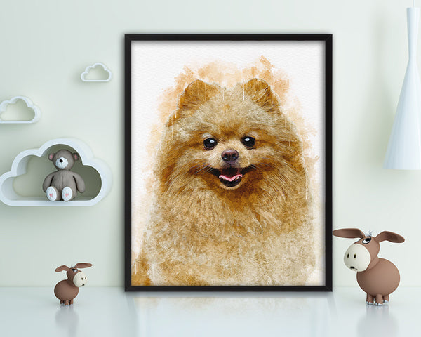 Pomeranian Spitz Dog Puppy Portrait Framed Print Pet Home Decor Custom Watercolor Wall Art Gifts